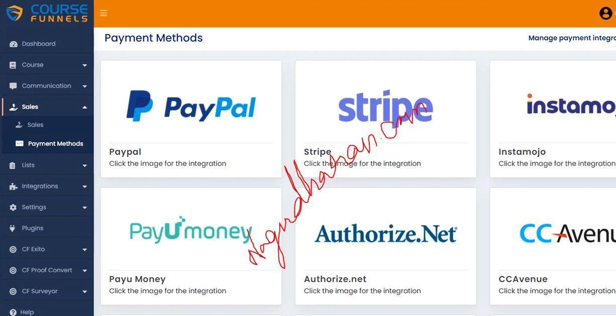 Coursefunnels Payment Methods