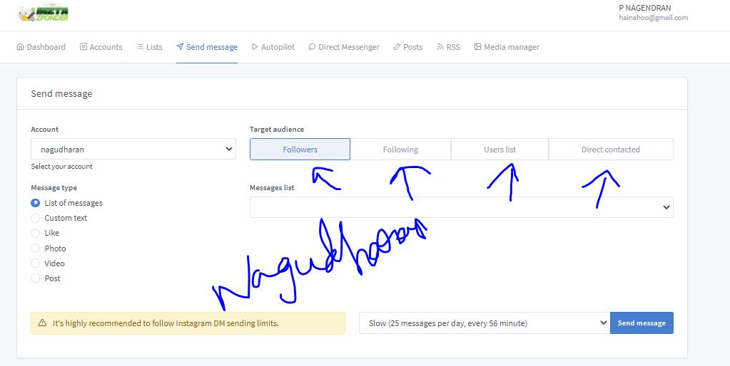 InztaZponder Send Message